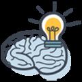 pictogramme d'un cerveau qui a une idée